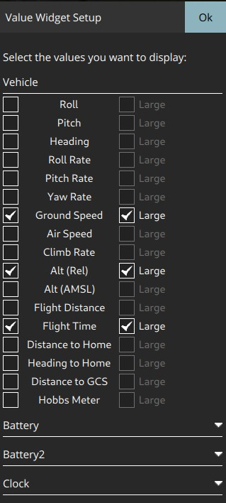 Instrument Page - values settings